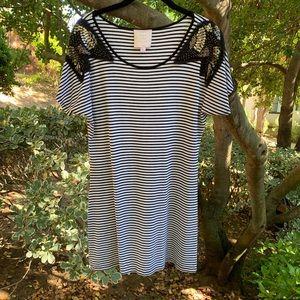 Romeo & Juliet Black & White Striped T-shirt Dres